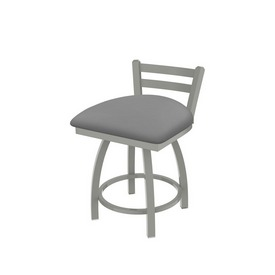 """411 Jackie 18"""" Low Back Swivel Vanity Stool with Anodized Nickel Finish and Canter Folkstone Grey Seat"""
