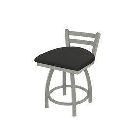 """411 Jackie 18"""" Low Back Swivel Vanity Stool with Anodized Nickel Finish and Canter Iron Seat"""