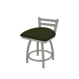 """411 Jackie 18"""" Low Back Swivel Vanity Stool with Anodized Nickel Finish and Canter Pine Seat"""