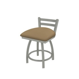 """411 Jackie 18"""" Low Back Swivel Vanity Stool with Anodized Nickel Finish and Canter Sand Seat"""
