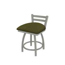 """411 Jackie 18"""" Low Back Swivel Vanity Stool with Anodized Nickel Finish and Graph Parrot Seat"""