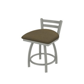 """411 Jackie 18"""" Low Back Swivel Vanity Stool with Anodized Nickel Finish and Graph Cork Seat"""