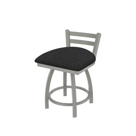 """411 Jackie 18"""" Low Back Swivel Vanity Stool with Anodized Nickel Finish and Graph Coal Seat"""