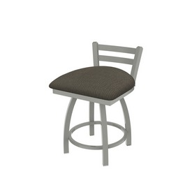 """411 Jackie 18"""" Low Back Swivel Vanity Stool with Anodized Nickel Finish and Graph Chalice Seat"""