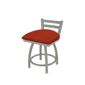 """411 Jackie 18"""" Low Back Swivel Vanity Stool with Anodized Nickel Finish and Graph Poppy Seat"""