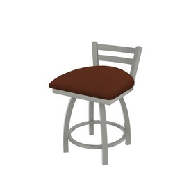"""411 Jackie 18"""" Low Back Swivel Vanity Stool with Anodized Nickel Finish and Rein Adobe Seat"""