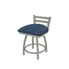 """411 Jackie 18"""" Low Back Swivel Vanity Stool with Anodized Nickel Finish and Rein Bay Seat"""