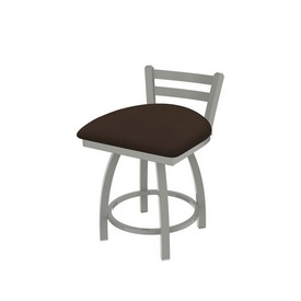 """411 Jackie 18"""" Low Back Swivel Vanity Stool with Anodized Nickel Finish and Rein Coffee Seat"""