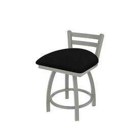 """411 Jackie 18"""" Low Back Swivel Vanity Stool with Anodized Nickel Finish and Black Vinyl Seat"""