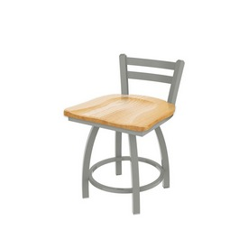 """411 Jackie 18"""" Low Back Swivel Vanity Stool with Anodized Nickel Finish and Natural Oak Seat"""