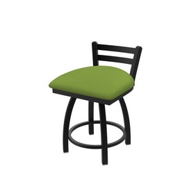411 Jackie Low Back Swivel Stool with Black Wrinkle Finish and Canter Kiwi Green Seat