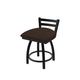 411 Jackie Low Back Swivel Stool with Black Wrinkle Finish and Rein Coffee Seat