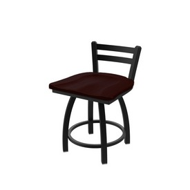 411 Jackie Low Back Swivel Stool with Black Wrinkle Finish and Dark Cherry Oak Seat