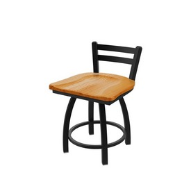 411 Jackie Low Back Swivel Stool with Black Wrinkle Finish and Medium Oak Seat