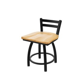 411 Jackie Low Back Swivel Stool with Black Wrinkle Finish and Natural Oak Seat