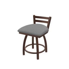 """411 Jackie 18"""" Low Back Swivel Vanity Stool with Bronze Finish and Canter Folkstone Grey Seat"""