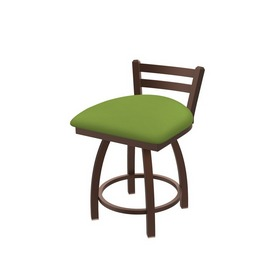 """411 Jackie 18"""" Low Back Swivel Vanity Stool with Bronze Finish and Canter Kiwi Green Seat"""