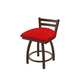 """411 Jackie 18"""" Low Back Swivel Vanity Stool with Bronze Finish and Canter Red Seat"""