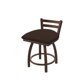 """411 Jackie 18"""" Low Back Swivel Vanity Stool with Bronze Finish and Rein Coffee Seat"""