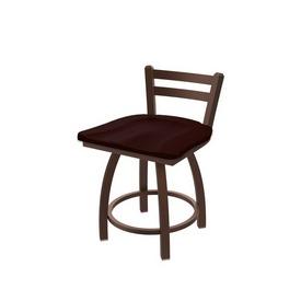 "411 Jackie 18"" Low Back Swivel Vanity Stool with Bronze Finish and Dark Cherry Oak Seat"