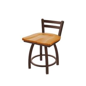 "411 Jackie 18"" Low Back Swivel Vanity Stool with Bronze Finish and Medium Oak Seat"