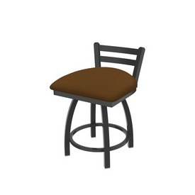 """411 Jackie 18"""" Low Back Swivel Vanity Stool with Pewter Finish and Canter Thatch Seat"""