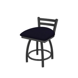 """411 Jackie 18"""" Low Back Swivel Vanity Stool with Pewter Finish and Canter Twilight Seat"""