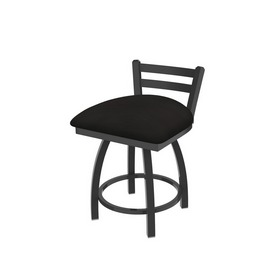 """411 Jackie 18"""" Low Back Swivel Vanity Stool with Pewter Finish and Canter Espresso Seat"""