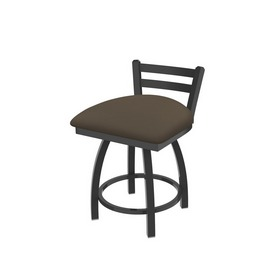 """411 Jackie 18"""" Low Back Swivel Vanity Stool with Pewter Finish and Canter Earth Seat"""