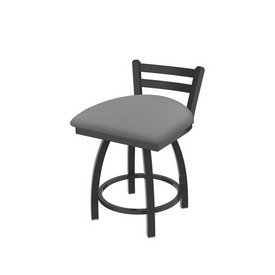 """411 Jackie 18"""" Low Back Swivel Vanity Stool with Pewter Finish and Canter Folkstone Grey Seat"""