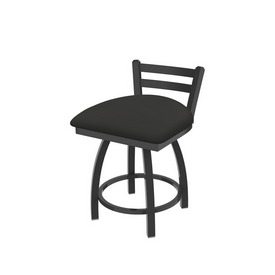 """411 Jackie 18"""" Low Back Swivel Vanity Stool with Pewter Finish and Canter Iron Seat"""