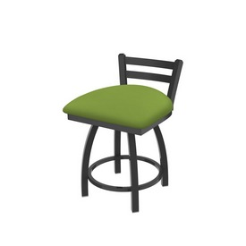 """411 Jackie 18"""" Low Back Swivel Vanity Stool with Pewter Finish and Canter Kiwi Green Seat"""