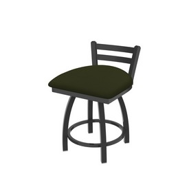 """411 Jackie 18"""" Low Back Swivel Vanity Stool with Pewter Finish and Canter Pine Seat"""
