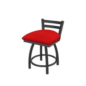 """411 Jackie 18"""" Low Back Swivel Vanity Stool with Pewter Finish and Canter Red Seat"""