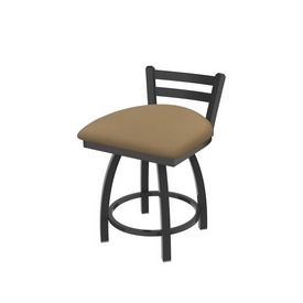 """411 Jackie 18"""" Low Back Swivel Vanity Stool with Pewter Finish and Canter Sand Seat"""