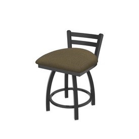 """411 Jackie 18"""" Low Back Swivel Vanity Stool with Pewter Finish and Graph Cork Seat"""