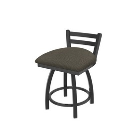 """411 Jackie 18"""" Low Back Swivel Vanity Stool with Pewter Finish and Graph Chalice Seat"""