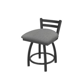 """411 Jackie 18"""" Low Back Swivel Vanity Stool with Pewter Finish and Graph Alpine Seat"""