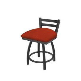 """411 Jackie 18"""" Low Back Swivel Vanity Stool with Pewter Finish and Graph Poppy Seat"""