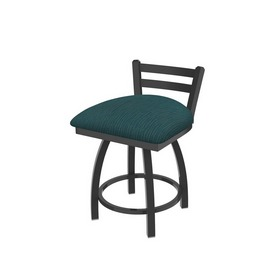 """411 Jackie 18"""" Low Back Swivel Vanity Stool with Pewter Finish and Graph Tidal Seat"""