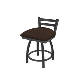 """411 Jackie 18"""" Low Back Swivel Vanity Stool with Pewter Finish and Rein Coffee Seat"""