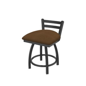"""411 Jackie 18"""" Low Back Swivel Vanity Stool with Pewter Finish and Rein Thatch Seat"""