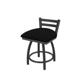 """411 Jackie 18"""" Low Back Swivel Vanity Stool with Pewter Finish and Black Vinyl Seat"""