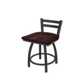 """411 Jackie 18"""" Low Back Swivel Vanity Stool with Pewter Finish and Dark Cherry Maple Seat"""