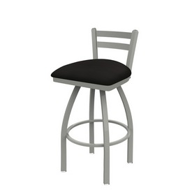 411 Jackie Low Back Swivel Stool with Anodized Nickel Finish and Canter Espresso Seat