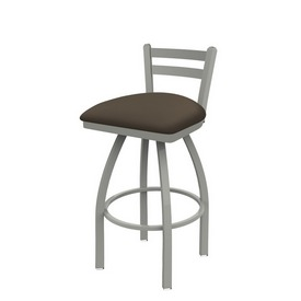 411 Jackie Low Back Swivel Stool with Anodized Nickel Finish and Canter Earth Seat