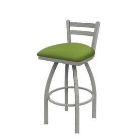 411 Jackie Low Back Swivel Stool with Anodized Nickel Finish and Canter Kiwi Green Seat