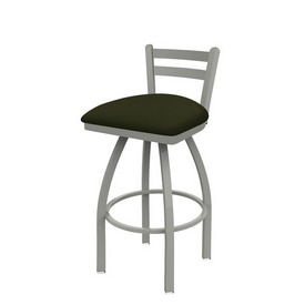 411 Jackie Low Back Swivel Stool with Anodized Nickel Finish and Canter Pine Seat
