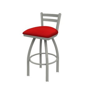 411 Jackie Low Back Swivel Stool with Anodized Nickel Finish and Canter Red Seat