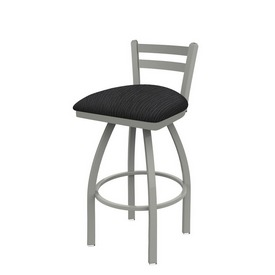 411 Jackie Low Back Swivel Stool with Anodized Nickel Finish and Graph Anchor Seat